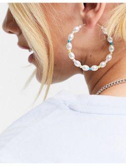 beaded and pearl hoop earrings in white mix