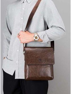 Men Solid Messenger Bag