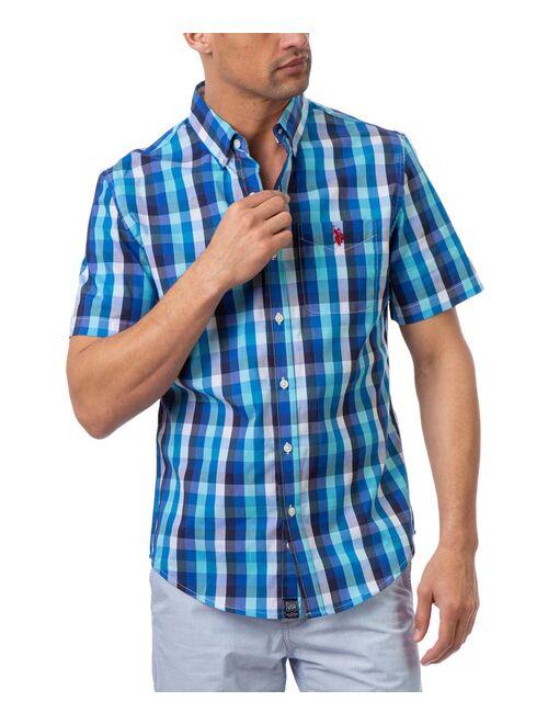 U.S. Polo Assn. Palace Blue & White Plaid Short-Sleeve Button-Up Shirt