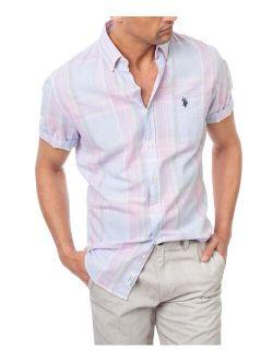 Dream Blue Plaid Logo Short-Sleeve Button-Up - Men