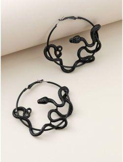 Snake Decor Hoop Earrings