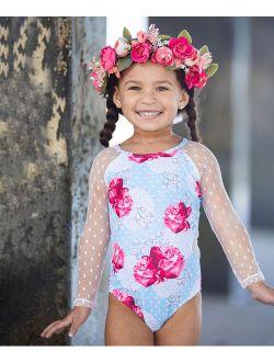 Mia Belle Girls White & Blue Pin Dot Roses Mesh-Sleeve One-Piece - Toddler & Girls