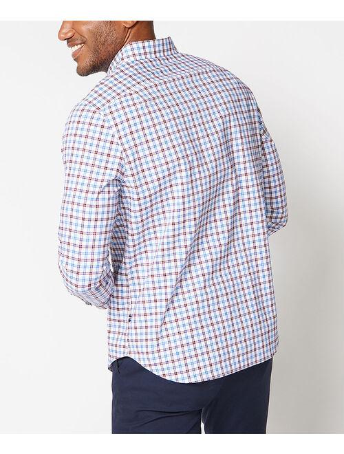 Nautica Bright White & Red Plaid Button-Up Dress Shirt