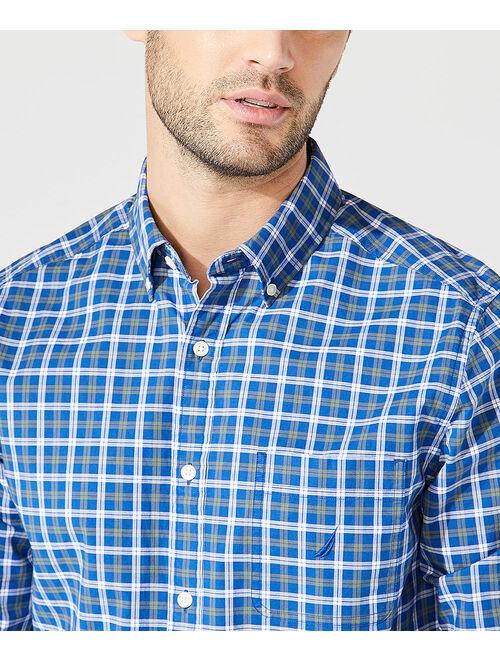 Nautica Blue Plaid Button-Up Casual Shirt