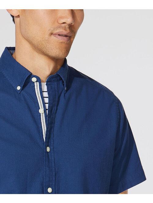 Nautica Navy Short-Sleeve Button-Up Casual Shirt