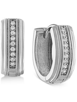 Esquire Men's Jewelry Diamond Hoop Earrings (1/10 ct. t.w.) in Sterling Silver, Created for Macy's (Also in 14k Gold Over Silver)