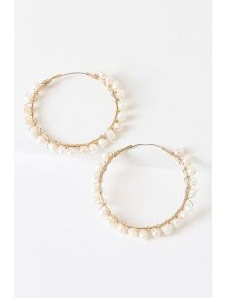 Wise Idea Gold and Pearl Hoop Earrings