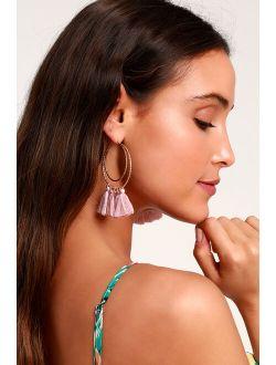 Lucky Love Gold and Mauve Tassel Hoop Earrings
