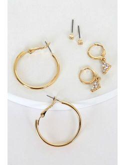 Array of Beauty Gold Rhinestone Earring Set