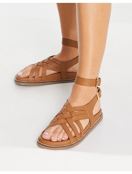 ASRA Samara gladiator sandals in tan leather