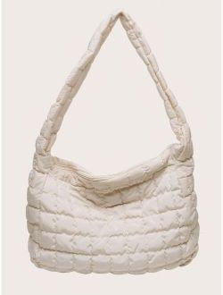 Large Capacity Stitch Detail Hobo Bag