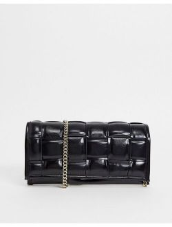 BTangled woven clutch in black patent