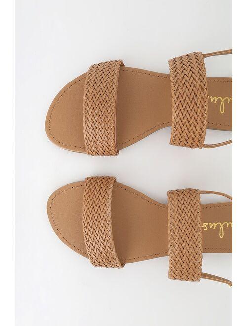 Lulus Blaise Camel Flat Sandals
