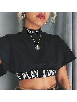 2019 New Women Summer Letter Print Patchwork T-shirt Short Sleeve Navel Bare Crop Tops Sexy Casual Stand Neck Fashion T Shirt