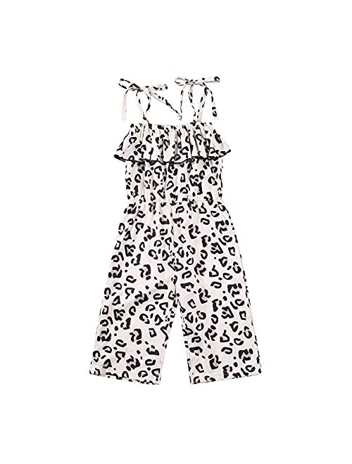 FURONGWANG6777BB Girl Halter Strap Rompers Toddler Sleeveless Leopard Print One-Piece Ruffle Jumpsuits 1-6T (Color : Beige, Kid Size : 24M)