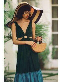 Geisha Designs Flounced Cut-Out Maxi Dress