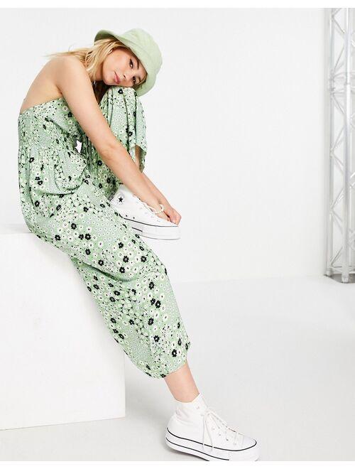 ASOS DESIGN tie front shirred waist culotte jumpsuit in sage green floral