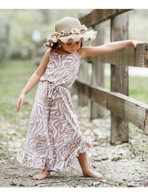 Mia Belle Girls Taupe & White Zebra Print Ruffle Drawstring Palazzo Jumpsuit - Toddler & Girls