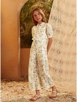 Girls Allover Floral Print Puff Sleeve Belted Schiffy Jumpsuit