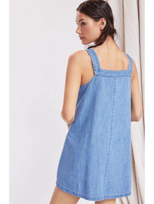 Porridge Patch-Pocket Denim Mini Dress
