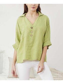 Ornella Paris Green Linen Button-Front Top - Women & Plus