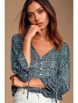 Carrissa Blue Print Long Sleeve Button Front Top