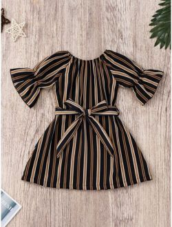 Toddler Girls Striped Self Tie Dress