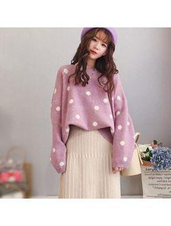 Korean Sweet Women Knitting Sweater Polka Dot O-Neck Yellow Pullover Warm Autumn Long Sleeve Kawaii Jumper Loose Streetwear