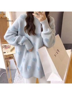 Sweater Women's Loose Jacket Fall Winter Love Pullover Long Sleeve Lazy Style Net Red Fashion Retro Knit Top 2021 New Hot Sale
