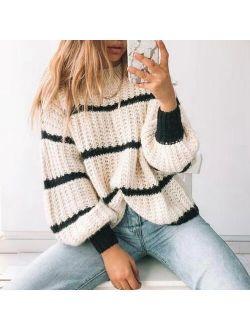 Muyogrt Elegant Striped Print Oversized Pullovers Women Autumn Winter O-Neck Loose Long Sweaters Streetwear Warm Outerwear 2021