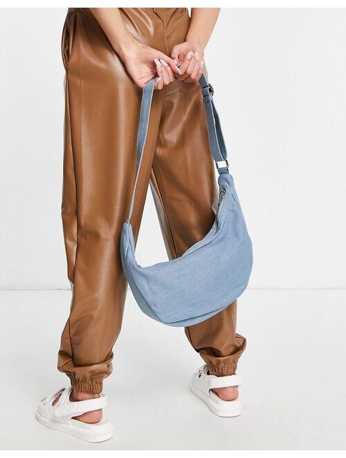 Glamorous Exclusive curved sling tote bag in denim