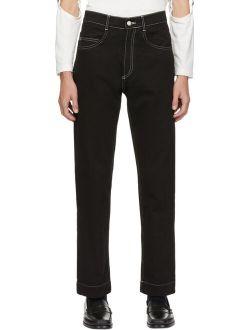 Daniel W. Fletcher Black Contrast Stitch Straight Leg Jeans