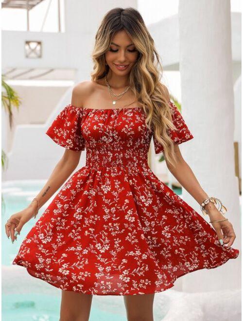 Shein Women's Floral Off Shoulder Shirred Waist Dress