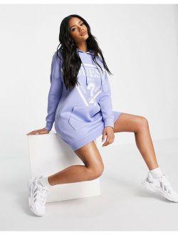 logo hoodie dress in lilac