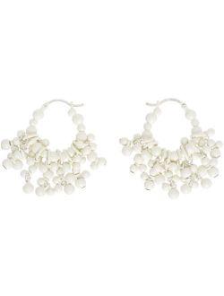 Recto White Tassel Hoop Earrings