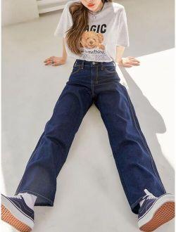 DAZY Contrast Topstitching Boyfriend Jeans
