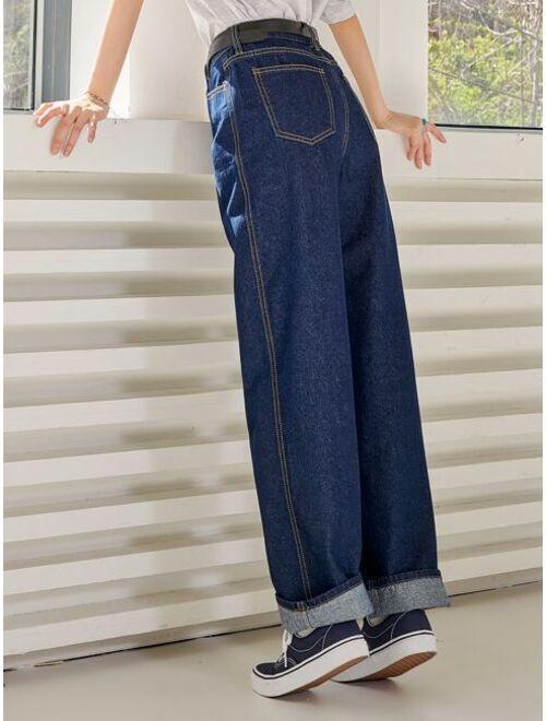 Shein DAZY Contrast Topstitching Boyfriend Jeans