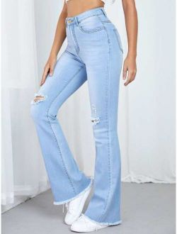 Ripped Detail Flare Leg Jeans