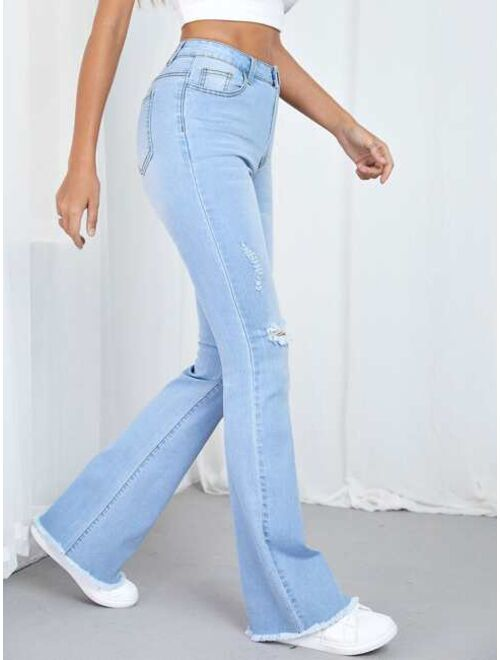 Shein Ripped Detail Flare Leg Jeans