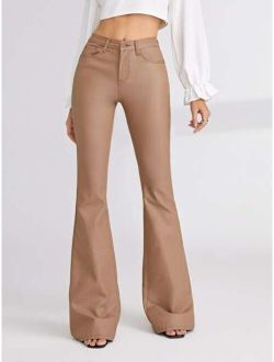 Solid Coated Flare Leg Jeans