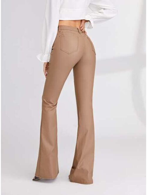 Shein Solid Coated Flare Leg Jeans