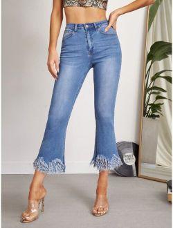 High Waist Fringe Hem Flare Leg Jeans