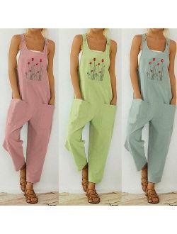 30h Women Casual Boho Jumpsuit Flower Print Bodysuit Pocket Women Romper Long Playsuit Strap Button Jumpsuit