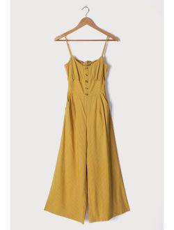 Coastal Air Mustard Yellow Striped Tie-Back Culotte Jumpsuit
