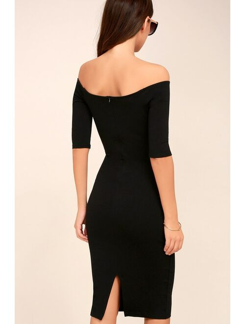 Lulus Girl Can't Help It Black Off-the-Shoulder Midi Dress