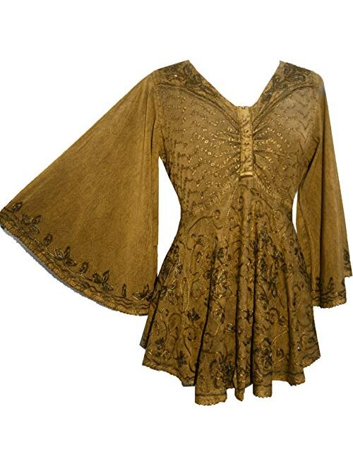 Agan Traders Women's Medieval Butterfly Embroidered Sequin Flair Bell Sleeve Top Blouse 116 B
