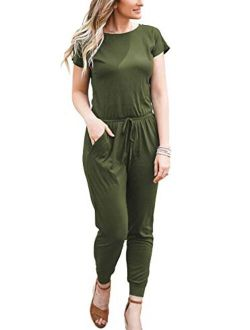 DouBCQ Womens Casual Short Sleeve Jumpsuits Elastic Waist Jumpsuit with Pockets