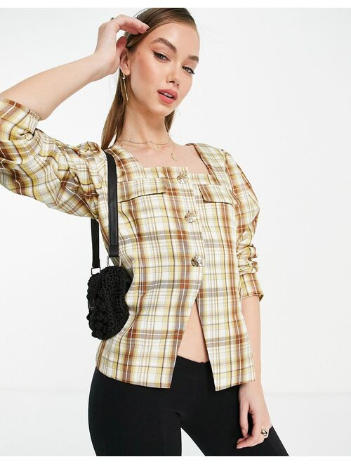 Ghospell square neck blouse in beige check set