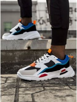 Men Color Block Lace-up Front Chunky Sneakers