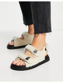 Margie flat sandals with buckles in cream quilt